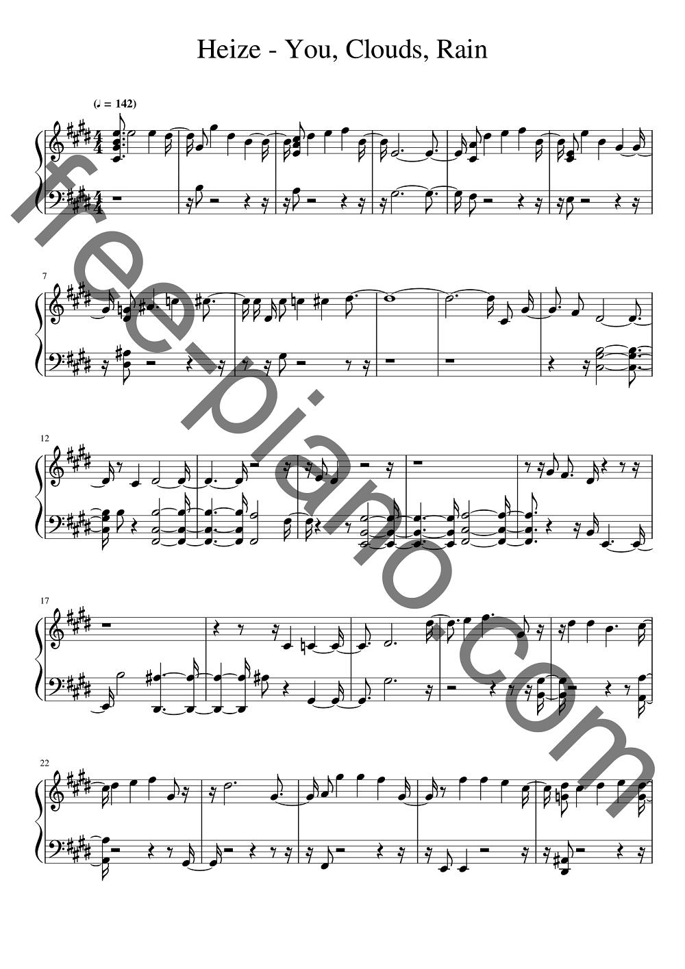 piano-sheet-Heize-You-Clouds-Rain