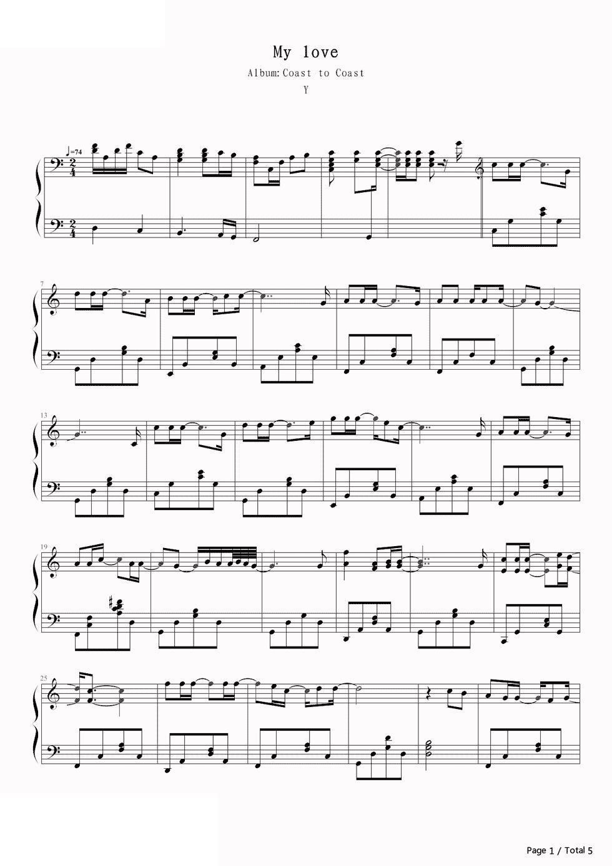 piano-sheet-my-love-westlife