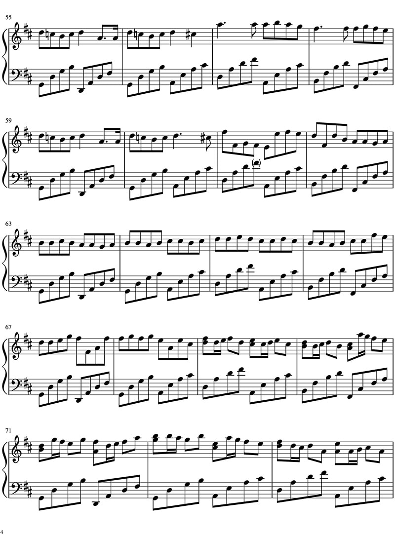 Piano sheet Canon in D
