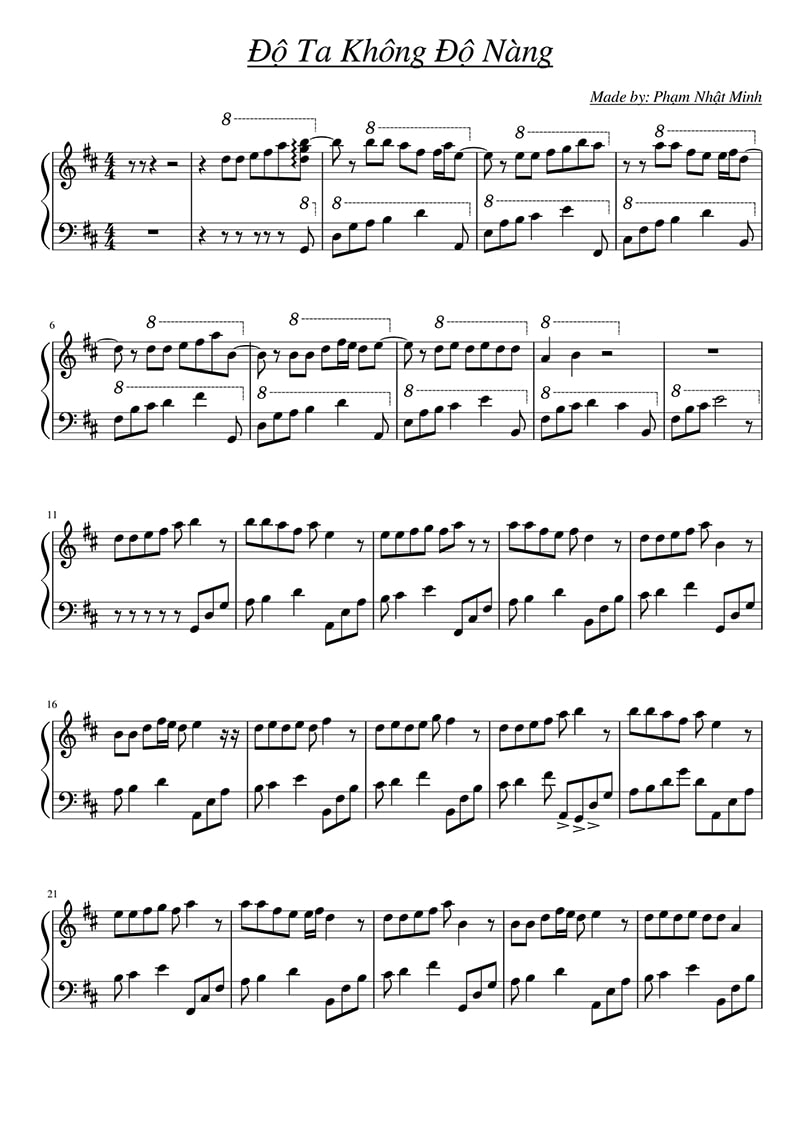 Piano sheet Độ ta không độ nàng