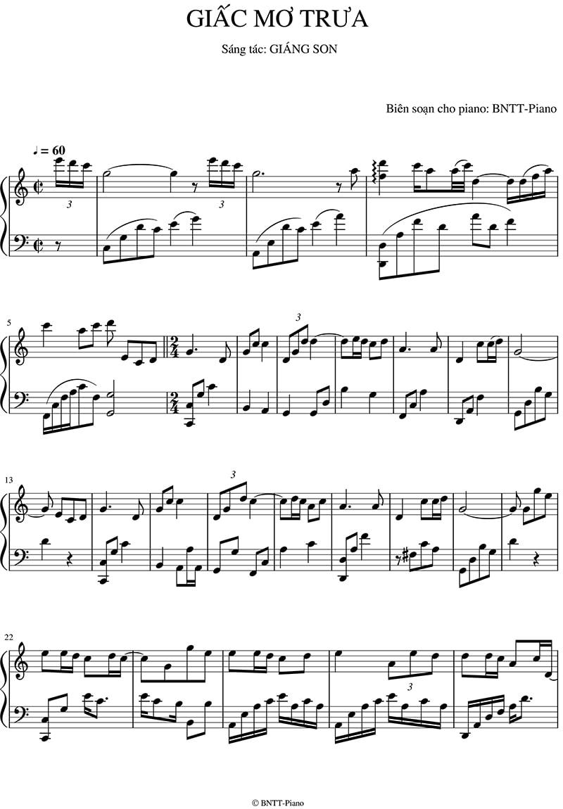 Piano sheet Giấc mơ trưa | Thùy Chi