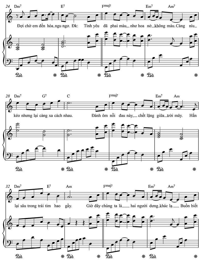 Piano sheet Hoa nở không màu | Hoài Lâm