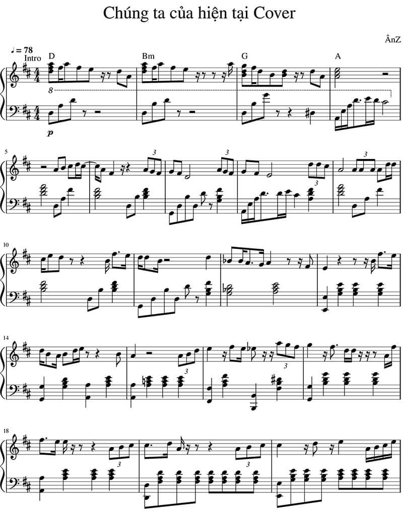 Piano sheet Chúng ta của hiện tại   Sơn Tùng MTP